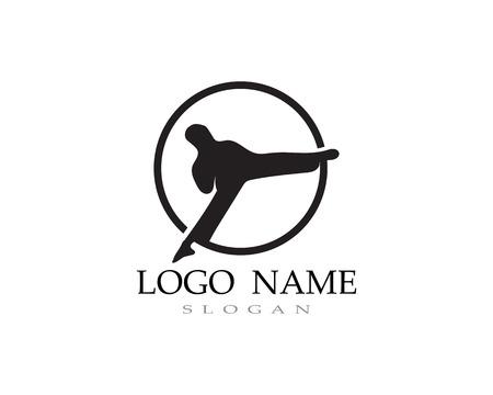 Karate and taekwondo logo fight vector black