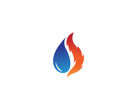 Water drop and fire logo template illustration Illustration