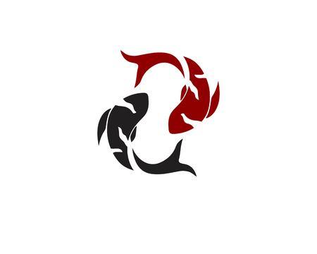 carp koi design on white background. Animal. Fish Icon. Underwater. Easy editable layered vector illustration Vector Illustration