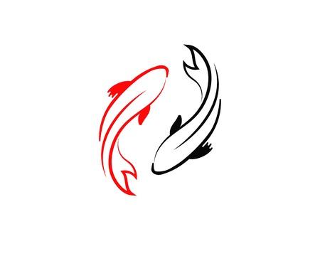carp koi design on white background. Animal. Fish Icon. Underwater. Easy editable layered vector illustration