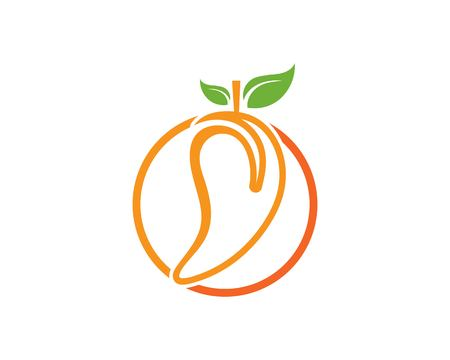 Mango in flat style. Mango vector logo. Mango icon Vectores