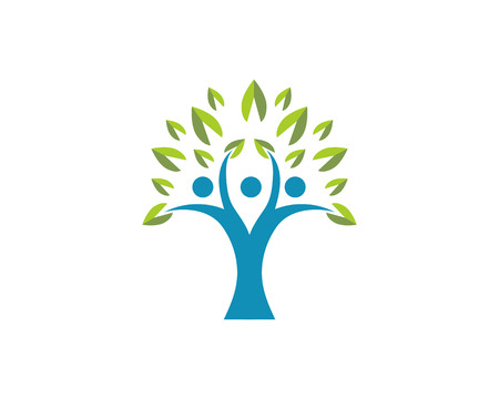 Tree people Human character logo sign illustration vector design