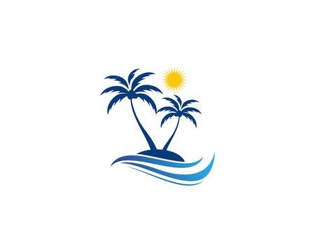 Ilustración de vector de plantilla de verano de palmera