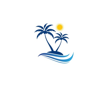Palm tree summer template vector illustration