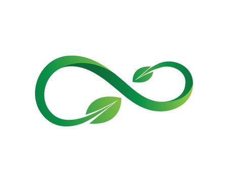 Infinity leaf green Design Vector icon illustration Logo template design Иллюстрация