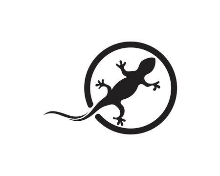 Lizard Chameleon Gecko Silhouette black vector Ilustrace