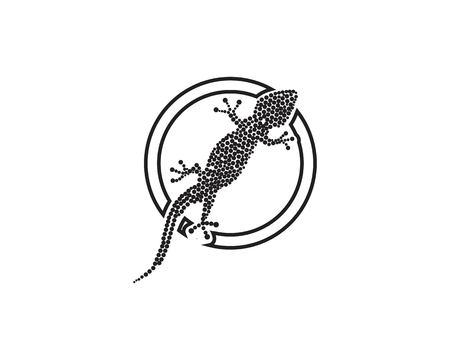 Lizard Chameleon Gecko Silhouette black vector Illustration