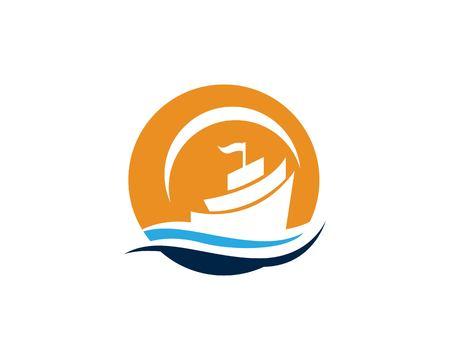 Ocean cruise liner ship silhouette simple linear logo