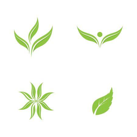 Logos de vector de elemento de naturaleza de árbol verde hoja ecología