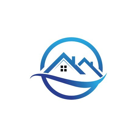 Real estate logo, house roof related to property