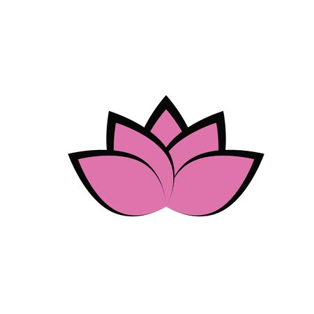 Lotus flower in flat style pink and green color logo