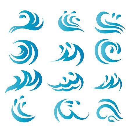 Vague d'eau Logo Template vecteur nature symbole Logo