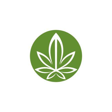 Cannabis marijuana hemp leaf logo and symbol