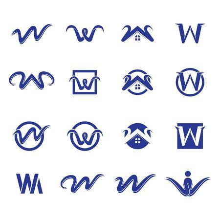 W letter logo and symbol  vector Stock Illustratie