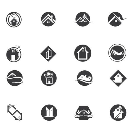 home buildings logo and symbols icons template Stock Illustratie