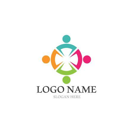 Icono de vector de plantilla de logotipo de adopción y atención comunitaria
