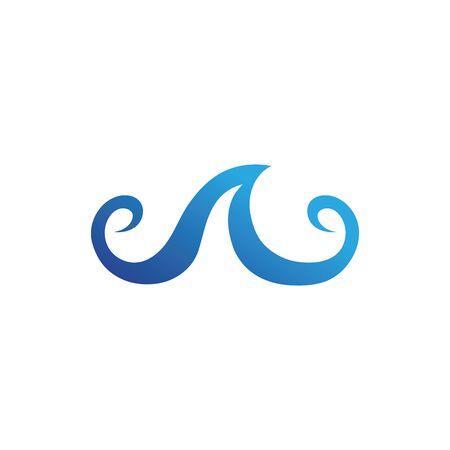 Icono y símbolo de la onda de agua Ilustración de vector