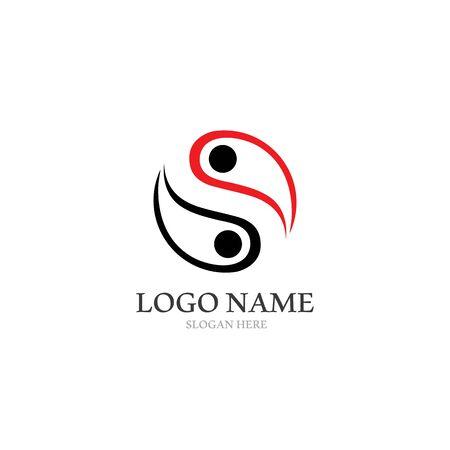 Yin yang logo icône vecteur