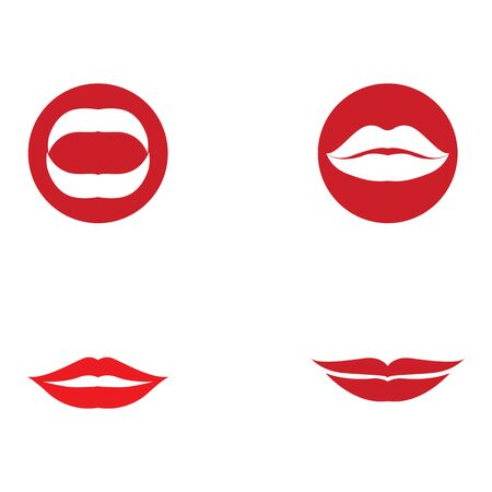 Lips icon cosmetic logo vector template