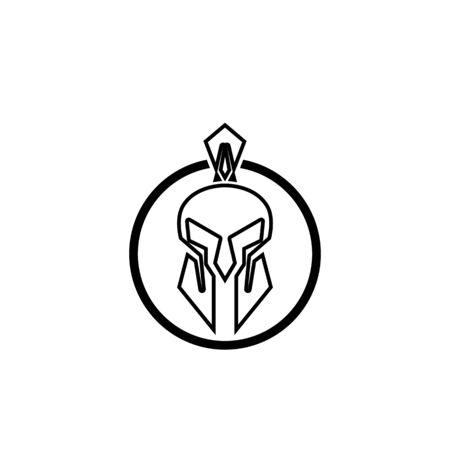 Spartan helmet logo template vector icon design