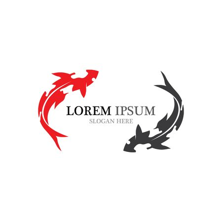 Koi fish logo vector animal