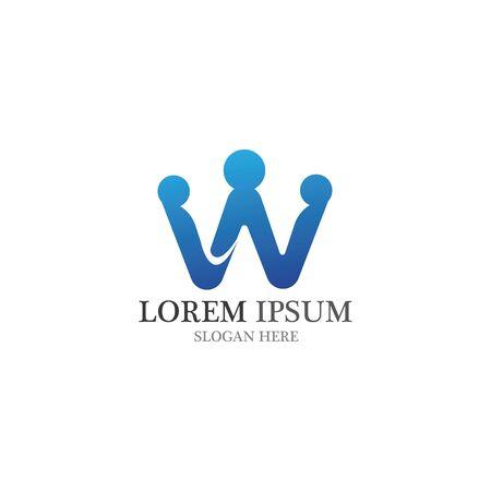 W letter community care Logo template vector icon Logó