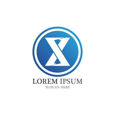 X Letter Logo Template vector icon illustration design Illustration
