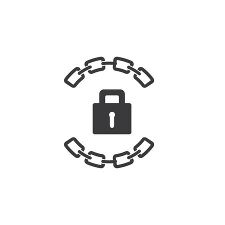 Chain and padlock Business corporate abstract unity vector logo design template Ilustrace