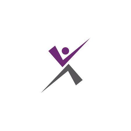 Fun People Healthy Life Logo Template Stock Vector