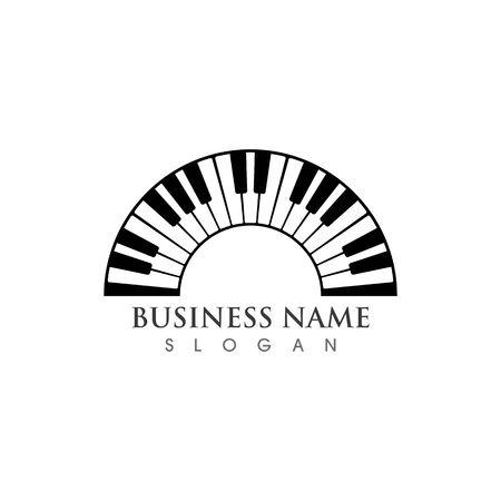 Piano logo icon vector ilustration template Иллюстрация