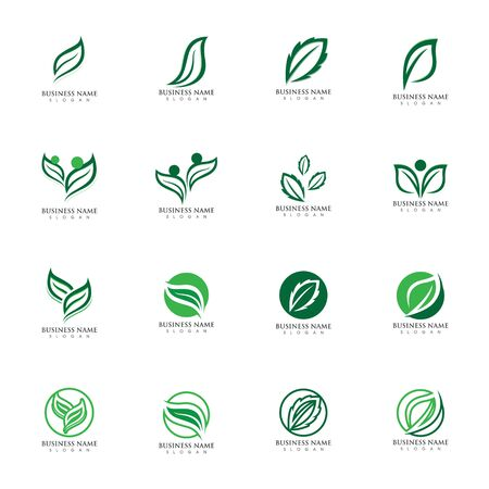 Logos of green Tree leaf ecology nature element vector Logo