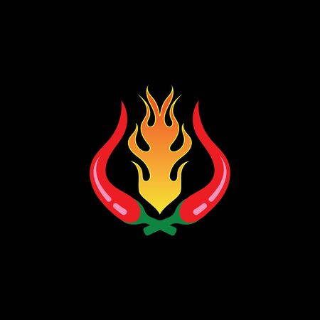 Red hot natural chili icon Template vector Illustration Illustration