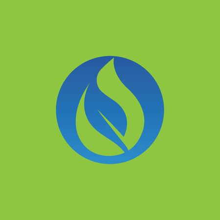 water drop and leaf logo 일러스트