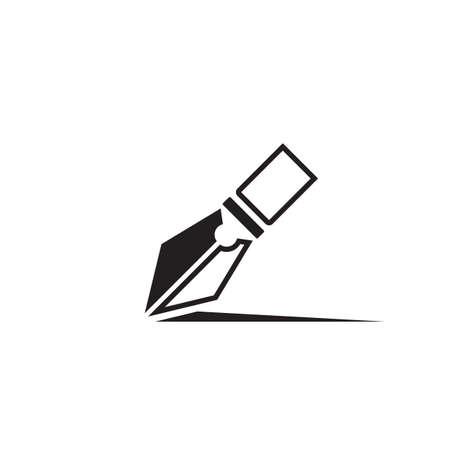 Feather pen Logo template Vector illustration