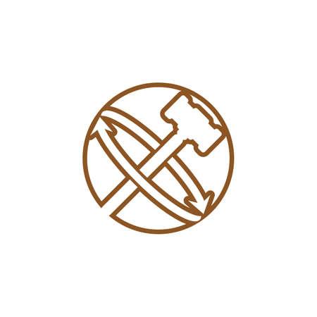 Judge hammer logo and symbol