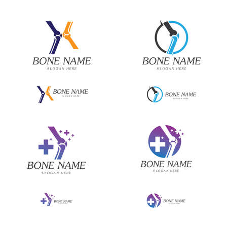Bone Plus . Healthy bone Icon. Knee bones and joints care protection template. Medical flat design. Vector of human body health. Emblem symbol