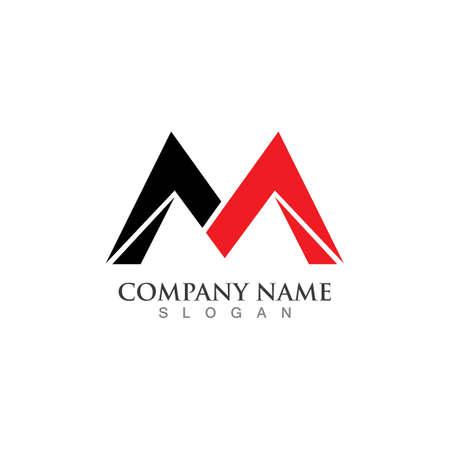 M Letter Logo Template vector illustration design 向量圖像