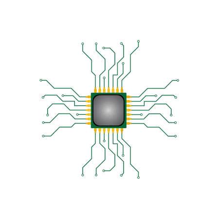 Circuit processor symbol and icon vector