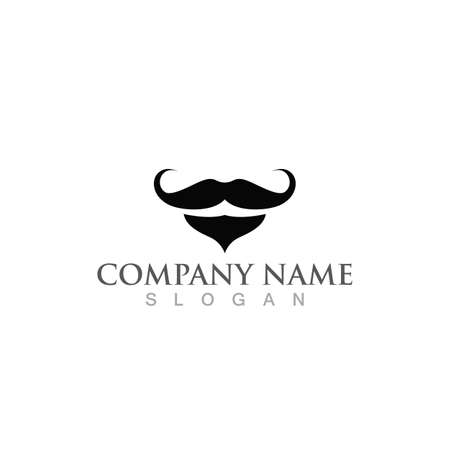 mustache and beard logo and symbol vector