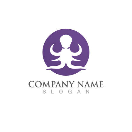 octopus animal logo and symbol icon vector Ilustração
