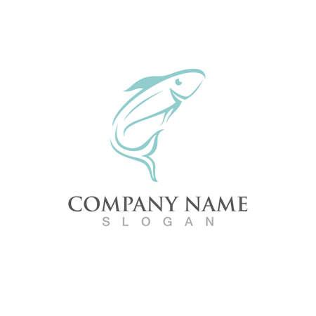Fish salmon logo template. Creative vector symbol Illustration