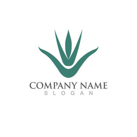 Aloe vera logo and symbol vector Illustration