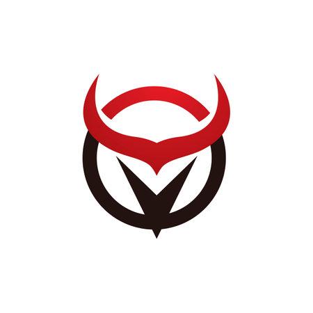 Bull horn angry logo vector image