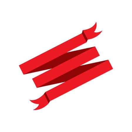 Flat ribbons banners flat isolated on white background, illustration set Vettoriali