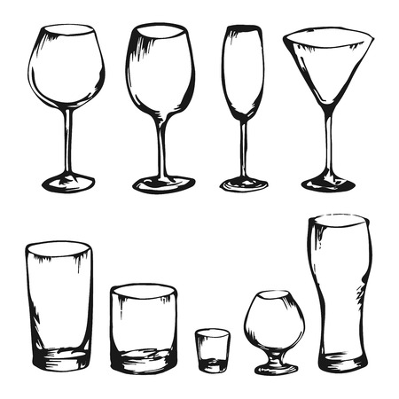 ware: Collection of hand drawing drinks and glasses. Alcohol glasses. Wine, whiskey, champagne, vodka, cocktail, cognac. Sketch of different king of glasses. Set of stem ware and drink ware.