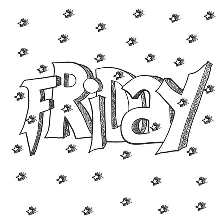 graffity: Cute lettering of Friday words for card. Graffity style text. Illustration