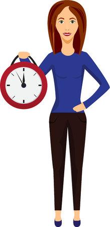punctual: Mujer con el reloj. La gestión del tiempo y planificación. Tome su tiempo. Ama de casa y mujer de negocios. Negocio. Vectores