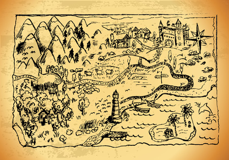 """Oude stijl van een kaart met landschappen, bergen, bos, zee. Grunge """"Schatkaart"""" met veel decoratie met ongelooflijk veel details."""