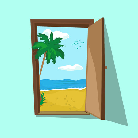 open sea: illustration of an open door with beach palm and sea there. Dream weekend and summer holiday. Travel and freelance. Tourist motivating poster.