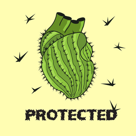 thorns: Cactus heart cartoon illustration. Doodle green prickly thorny cactus human heart. Protected heart with thorns.